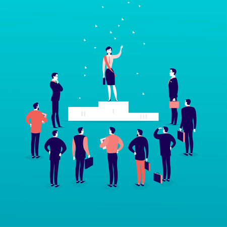 Vector flat illustration with successful business lady standing on podium in front of office men and businessmen crowd isolated. Gender equality, lady upwards. Success, respect, achievement - metaphor Illustration