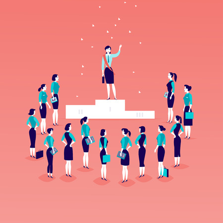Vector flat illustration with successful business lady standing on podium in front of office women and business ladies crowd isolated. Gender equality, lady upwards. Success, respect,  - metaphor. Illustration