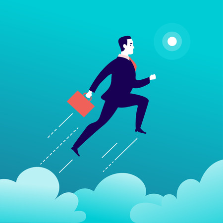 Vector flat illustration with businessman jumping above clouds on blue sky. Motivation, moving upwards, aspirations, new aims and perspectives, achievements - metaphor. 向量圖像