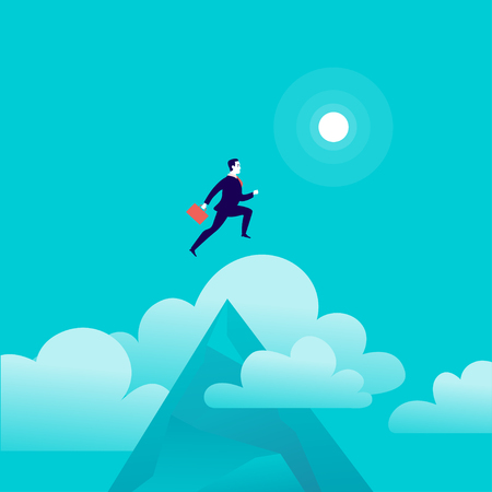 Vector flat illustration with businessman jumping above mountain peak on blue sky with isolated clouds. Motivation, moving upwards, aspirations, new aims and perspectives, achievements - metaphor.