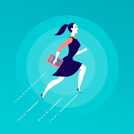Vector flat illustration with business lady jumping upwards, isolated on blue background. Motivation, moving up, aspirations, growth, new aims and perspectives, achievements, woman move - metaphor.