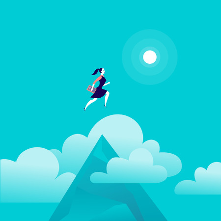 Flat vector illustration with business lady jumping above mountain peak on blue sky with isolated clouds. Motivation, moving upwards, aspirations, new aims and perspectives, achievements, metaphor.