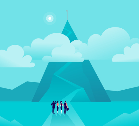 Vector business concept illustration with businessmen, women standing in front of mountain  motivation.