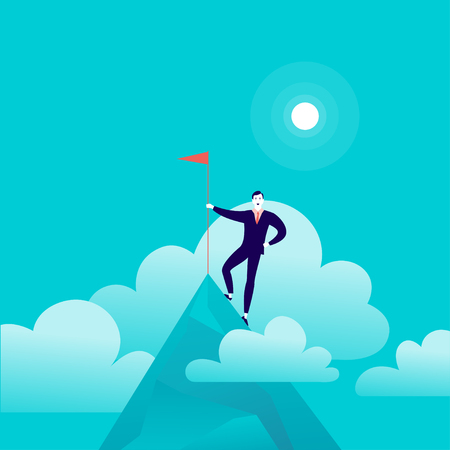 Vector flat illustration with businessman standing on top of mountain peak holding flag on blue clouded sky background. Çizim