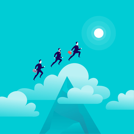 Vector flat illustration with office people jumping above mountain peak on blue sky with isolated clouds. Illusztráció