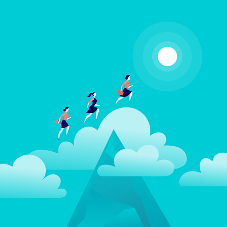 Vector flat illustration with office people jumping above mountain peak on blue sky with isolated clouds. 向量圖像