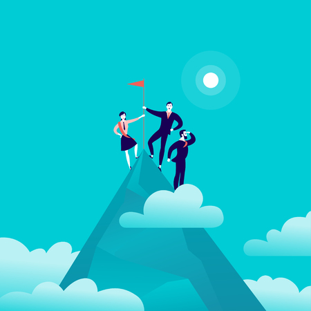 Vector flat illustration with business people standing on mountain peak top holding flag on blue clouded sky background. Victory, achievement, reaching aim, partnership, motivation, leader - metaphor. Vettoriali