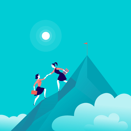 Vector flat illustration with business ladies climbing together on mountain peak top on blue clouded sky background. Team work, achievement, reaching aim, partnership, motivation, support, - metaphor.