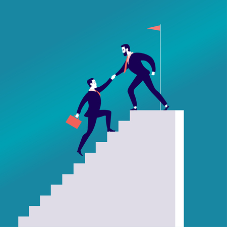 Ilustración plana de vector con gente de negocios subiendo juntos en escaleras blancas aisladas sobre fondo azul. Trabajo en equipo, logros, alcanzar el objetivo, asociación, motivación, apoyo - metáfora. Ilustración de vector