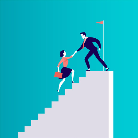 Vector flat illustration with business people climbing together on top of white stairs isolated on blue background. Team work, achievement, reaching aim, partnership, motivation, support - metaphor. 矢量图像