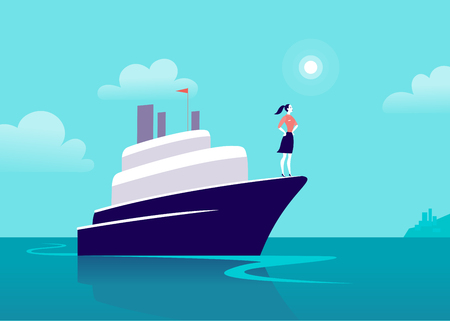 Vector flat business illustration with business lady sailing on ship through ocean towards city on blue clouded sky. Motivation, achievements, new goals, aspirations, leadership, winner - metaphor. 向量圖像