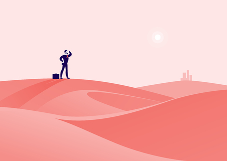 Businessman standing on a desert hill and watching on horizon city.