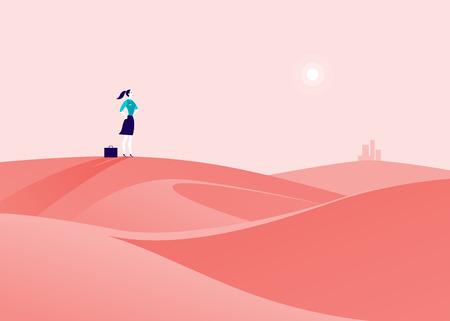 Vector business concept illustration with business lady standing at desert hill & watching on horizon city. Metaphor for new aims, goals, purpose, achievements and aspirations, motivation, overcoming.