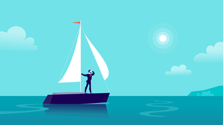Vector flat business illustration with businessman sailing on ship through ocean towards city on blue clouded sky. Motivation, achievements, new goals, aspirations, leadership, winner - metaphor.