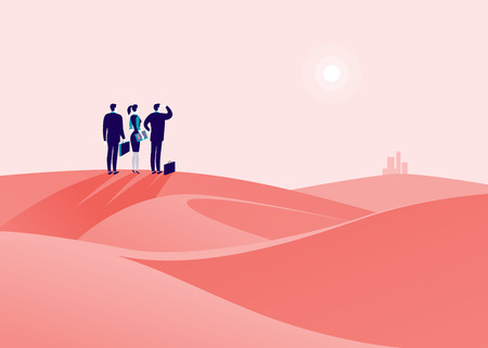 Business concept illustration with business people standing at desert hill and watching on horizon city.