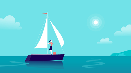 Vector flat business illustration with business lady sailing on ship through ocean towards city on blue clouded sky. Motivation, achievements, new goals, aspirations, leadership, winner - metaphor. Foto de archivo - 100376317