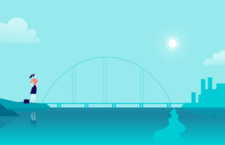 Vector flat illustration with business lady standing at sea coast bridge looking at city on another side. Metaphor for new achievements, aspirations, aims, leadership, career goals, motivation. Foto de archivo - 100376321