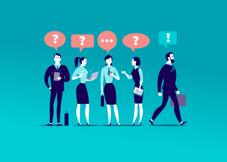 Vector flat illustration with office people standing together searching answers. Businessman walking towards aim.