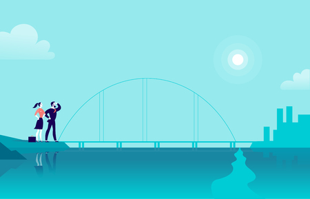 Vector flat illustration with business people standing at sea coast bridge looking at city on another side. New achievement, aspirations, company work, partnership, career goal, motivation - metaphor.