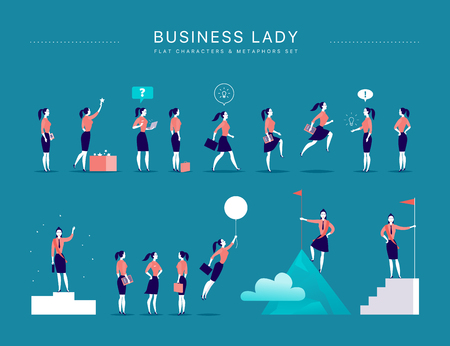 Vector flat illustration with business lady office characters & metaphors isolated on blue background. Concepts portraits for different business situations - leadership, idea, achievement, aspirations