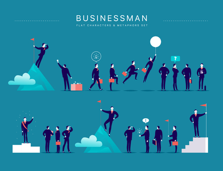 Vector flat illustration with businessman office characters & metaphors isolated on blue background. Concepts portraits for different business situations - leadership, idea, achievement, aspirations.