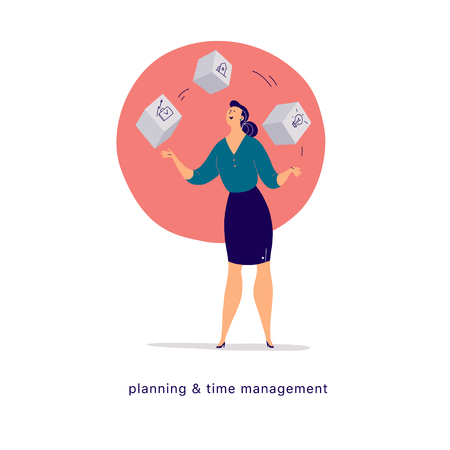 Vector flat cartoon illustration of business lady office character juggle blocks isolated on light background. Metaphor & symbol - achievements, time management, feminism, planning, motivation, growth Stock Illustratie