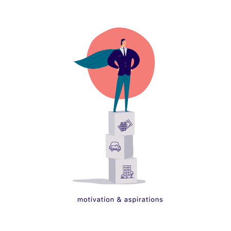 Vector flat cartoon illustration of businessman office character standing on block pile like podium isolated on white background. Metaphor & symbol - achievements, winner, motivation, growth, success.