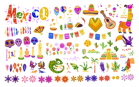 Big vector set of mexico elements, symbols & animals in flat hand drawn style isolated on white background. Icons for fiesta, celebrations,  national patterns & decorations, traditional food, colors.