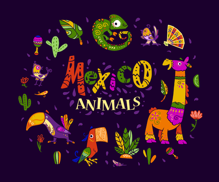 Vector flat set of mexico traditional elements, symbols & animal characters in flat hand drawn style isolated on dark background. Mexican celebration, national patterns & decorations, plants.
