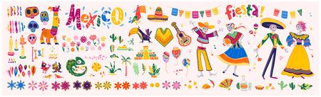 Conjunto de vector grande de elementos de México, personajes esqueléticos, animales en estilo plano dibujado a mano aislado sobre fondo blanco. Iconos de fiesta, celebración, patrones nacionales, decoración, comida tradicional. Ilustración de vector