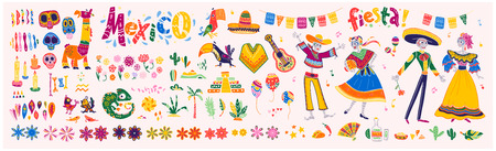 Großer Vektorsatz von Mexiko-Elementen, Skelettcharakteren, Tiere im flachen Hand gezeichneten Stil lokalisiert auf weißem Hintergrund. Ikonen für Fiesta, Feier, nationale Muster, Dekoration, traditionelles Essen. Vektorgrafik
