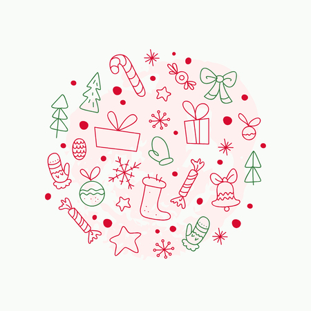 Vector flat traditional Christmas decor icons - fir tree, decoration ball, snowflake, gift box, bell, star, sweet - isolated on white background. Packaging design, cards, posters elements. Line art. Banque d'images - 102131470