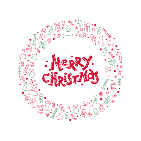 Vector flat Christmas congratulation with lettering & icons - fir tree, decoration ball, snowflake, gift box, bell - isolated on white background. Package design, cards, posters elements. Line art. Banque d'images - 102131471