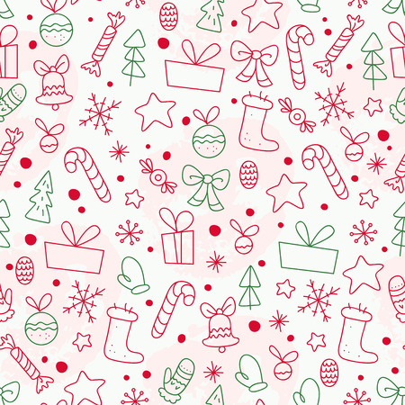 Vector flat seamless pattern with traditional Christmas decor icons - fir tree, decoration ball, snowflake, gift box, bell, star shape etc. - isolated on white background. Packaging design, line art.