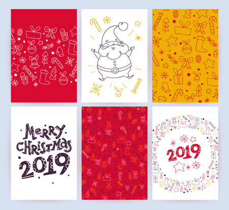 Vector collection of flat Christmas holiday congratulation cards with patterns & text isolated on light background. Traditional Merry Christmas decor elements - fir tree, gift box, snowflake. Line art Banco de Imagens - 102876269