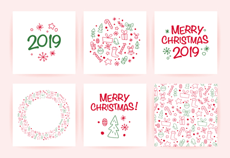 Vector collection of flat Christmas holiday congratulation cards with patterns & text isolated on light background. Traditional Merry Christmas decor elements - fir tree, gift box, snowflake. Line art Banco de Imagens - 102913910