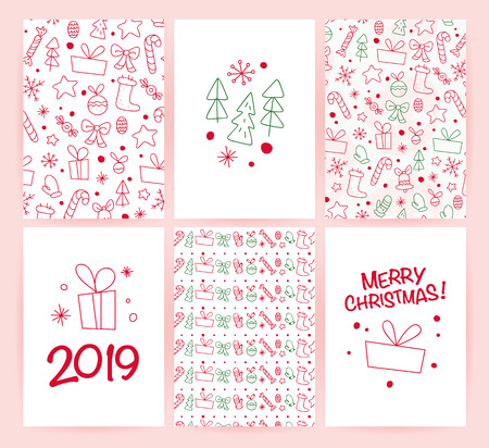 Vector collection of flat Christmas holiday congratulation cards with patterns & text isolated on light background. Traditional Merry Christmas decor elements - fir tree, gift box, snowflake. Line art Banco de Imagens - 102944038