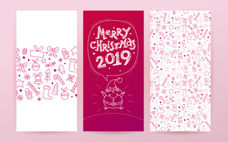 Vector collection of flat Christmas holiday congratulation cards with patterns & text isolated on light background. Traditional Merry Christmas decor elements - fir tree, gift box, snowflake. Line art