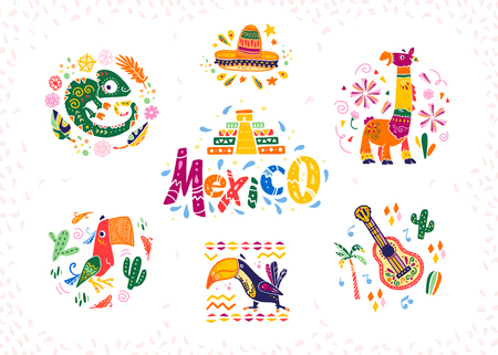 Vector set of hand drawn decorative arrangements with traditional Mexican symbols and elements - Mexico lettering, decor, sombrero, guitar, cactus, llama, parrot,  etc. isolated on white background. Иллюстрация