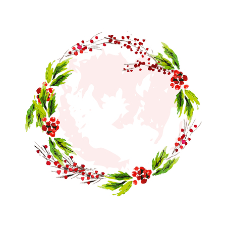 Vector artistic watercolor hand drawn Merry Christmas decoration wreath with holly berry branches isolated on white background. Congratulation design element, card, invitation, banner, package.