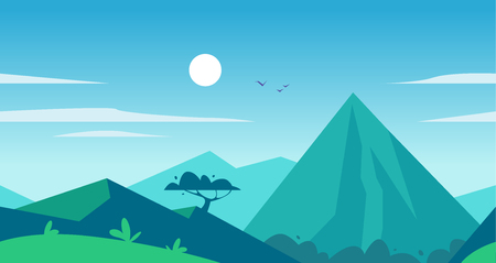 Vector flat seamless summer landscape illustration with mountains, sun, tree and blue clouded sky. Perfect for travel and camping tours posters, placards, flayers, leaflets and banners. Nature view.