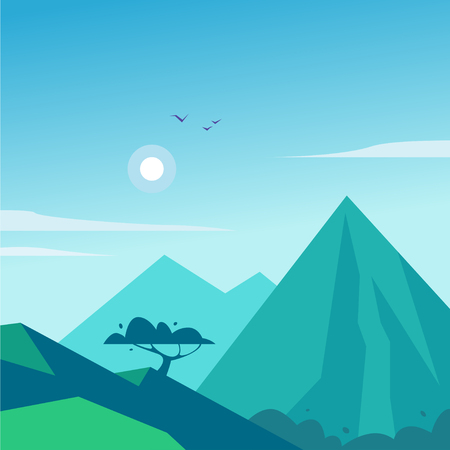 Vector flat summer landscape illustration with mountains, sun, tree and blue clouded sky. Perfect for travel and camping tours posters, placards, flayers, leaflets and banners. Nature beautiful view. 向量圖像