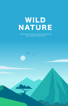 Vector flat summer landscape illustration with mountains, sun, tree and blue clouded sky. Perfect for travel and camping tours posters, placards, flayers, leaflets and banners. Nature beautiful view. Ilustrace