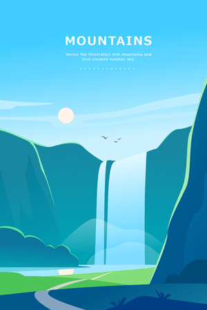 Vector flat summer landscape illustration with waterfall, river, mountains, sun, forest on blue clouded sky. Perfect for travel camping tour poster, placard, flayer, leaflet, banner. Nature view.