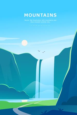 Flache Sommerlandschaftsillustration des Vektors mit Wasserfall, Fluss, Bergen, Sonne, Wald auf blauem bewölktem Himmel. Vervollkommnen Sie für Reisecamping-Tourplakat, Plakat, Flayer, Faltblatt, Fahne. Naturblick. Vektorgrafik