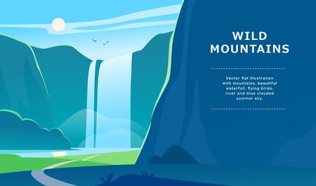 Illustrazione di paesaggio estivo piatto vettoriale con cascata, fiume, montagne, sole, foresta sul cielo appannato blu. Perfetto per poster di viaggio in campeggio, cartello, flayer, depliant, banner. Vista della natura.