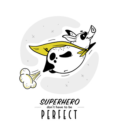 Vector hand drawn illustration with text and funny pig super hero character in yellow cloak isolated on white background. Comic book style. Good for print design, cards, packaging, banners, decor etc. Çizim