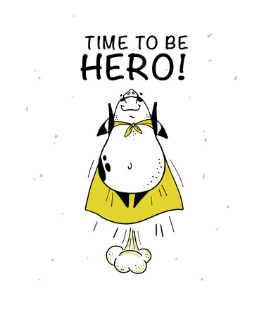 Vector hand drawn illustration with text and funny pig super hero character in yellow cloak isolated on white background. Comic book style. Good for print design, cards, packaging, banners, decor etc. Reklamní fotografie - 107298002