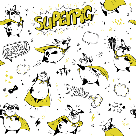 Vector seamless pattern with funny pig super hero hand drawn characters. Comic style. Outline drawing. Perfect for packaging paper, package design, childrens room interior decor, kid clothes prints. Stock Illustratie