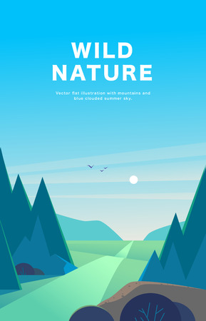 Vector flat summer landscape illustration with mountains, sun, fir trees, road, bush, medows and blue clouded sky. Perfect for travel and camping tours posters, placards, flayers, leaflets and banners